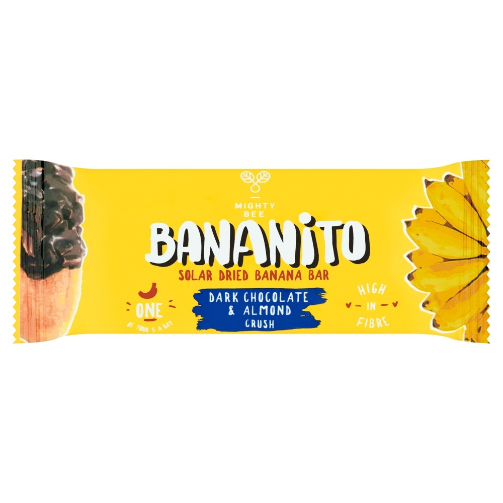 Bananito Suszone na słońcu banany w gorzkiej czekoladzie z kruszonymi migdałami 30 g